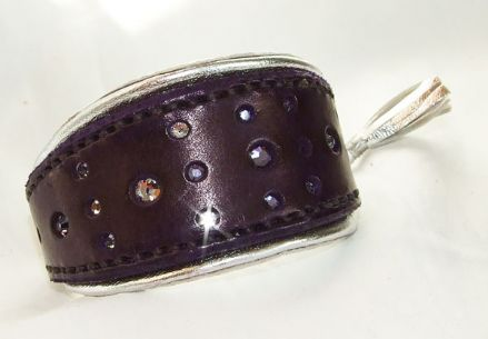 Hand-Made Bridle Leather Crystal Inset Italian Greyhound Collar (Purple/Silver)